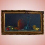Mid-Century Original Oil Painting Still Life Fruit Yard-long Style