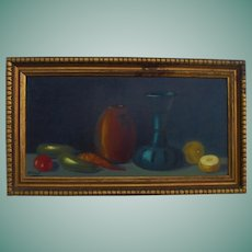 Mid-Century Original Oil Painting Still Life Fruit Yard-long Style