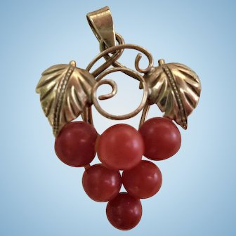 18K Gold & Genuine Coral Bacchus Grapes Cluster Pendant Mediterranean