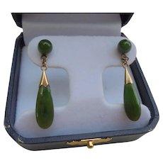 14K Gold & Jade Elongated Dangling Pierced Earrings Vintage