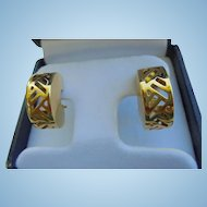 Rare 14K Waterford Omega Back Pierced Earrings Chunky Ornate Half Hoops