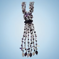 Massive  Bib Amethyst & Quartz Draping Necklace