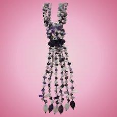 "Massive ""Waterfall"" Bib Amethyst & Quartz Draping Necklace"