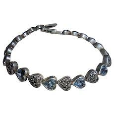 Hearts 925 Blue Topaz Sterling Silver Marcasite Link Bracelet