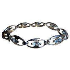 Sterling Silver & Blue Topaz Link Bracelet 925