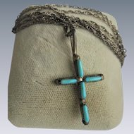 Sterling Silver Turquoise Crucifix Cross Pendant Necklace
