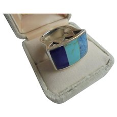 Lapis Lazuli Turquoise & Sodalite Sterling Silver Chunky Ring Size 8