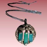 Art Nouveau Chrysoprase Sterling Silver Pendant Necklace