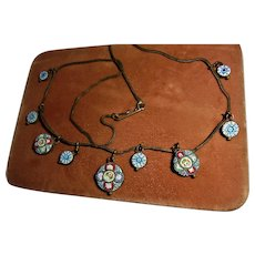 Antique Italy Micro-Mosaic Tiled Dangle Bib Necklace