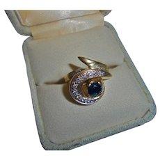 14K Diamond & Sapphire Modernist Ring Size 6