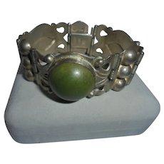 Rare Early Rafael Melendez Silver Modernist Green Agate Bracelet Mexican Modernist Master