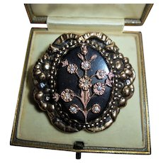 Antique Onyx & Paste Rose Gold-Filled Victorian Era Floral Triple Layered Brooch
