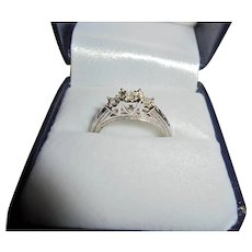 10K Triple Diamond Engagement Ring White Gold TCW .10 Size 7 Past Present Future