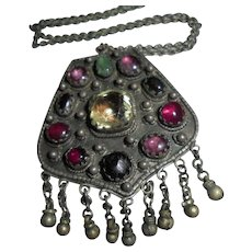 Antique Yemen Silver Middle Eastern Dangling Jewelled Pendant Necklace Toggle Clasp