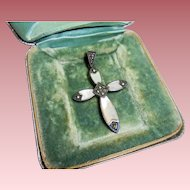 925 Sterling Silver Marcasite Mother of Pearl Inlay Crucifix Cross Pendant
