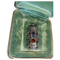 Sterling Silver Marcasite Gemstone Geometric Shaped Pendant Amethyst Blue Topaz Citrine