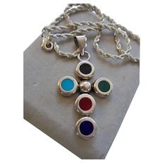 Sterling Mexico Lapis Turquoise Red Coral Malachite Onyx Cross Crucifix Pendant on Silver-tone chain