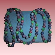 10K Gold and Smooth Polished Stone Beaded Sautoir Necklace 8mm Blue Violet Green