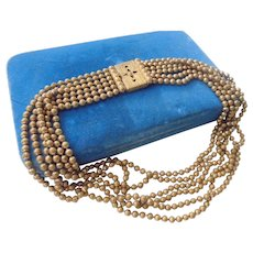 Victorian Brass Ball & Chain 6 Strand Necklace  Book - Box Clasp