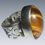 Vintage Sterling Silver Tiger's Eye Ring Size 7.75