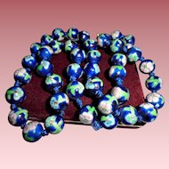 Vintage Blue Cloisonne Floral Beaded Necklace 12 mm Hand-knotted