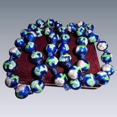 Vintage Blue Cloisonne Floral Beaded Necklace 12 mm Hand-knotted