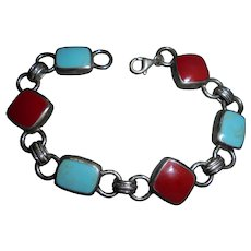 Vintage Sterling Silver Turquoise & Red Coral Inset Stone Bracelet