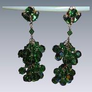"""Emerald Green Crystal Larry Vrba Dangling Chandelier Earrings 3"""" inch"""
