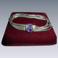 Vintage Milor Italy Amethyst Jewelled Liquid-Like Sterling Silver Bracelet