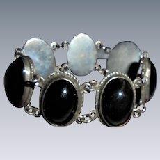 Mexico Sterling & Onyx Chunky Link Bracelet Vintage