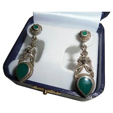 925 Sterling Silver Inlaid Malachite Marcasite Pierced Earrings