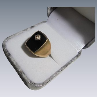 Art Deco Era 8K Gold Onyx & Diamond Signet Ring Size 8