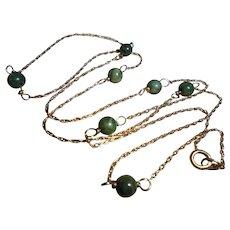 Vintage 14K Gold Nephrite Jade Beaded Necklace