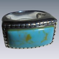 Vintage 925 Turquoise Cable Style Ring Designer CFJ