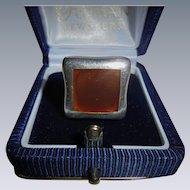 Vintage Carnelian Inset Sterling Silver Ring Designer CFJ