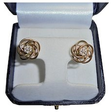 14K Yellow Gold & Diamond Love Knot Earrings Pierced Mid-Century