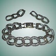 Sterling Silver Marcasite Bracelet Pierced Earrings Set