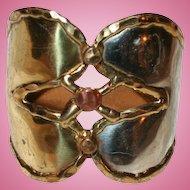 Brutalist Era Double Heart Modernist Cuff Bracelet