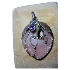 Amethyst & Pink Quartz 3-D Art Nouveau Sterling Silver Pendant Berries Leaves Motiff