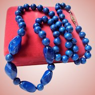 Lapis Lazuli Beaded Necklace Hand knotted 8mm to 20mm Beads