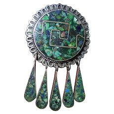 Mexico Sterling Silver Inlaid Green Turquoise Dangling Brooch / Pendant