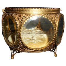 Rare Oversized Octagonal Ormolu French Jewelry Casket Vitrine Beveled Glass Display Case