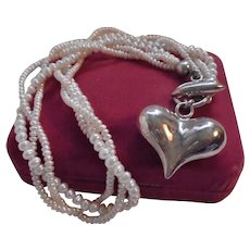 925 Puffy Heart Pendant Cultured Freshwater Pearl Triple Strand Torsade Necklace Toggle Clasp