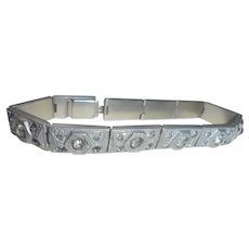 Art Deco White Metal and Paste Bracelet