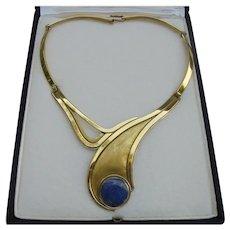 Rare Trittini Chile Bronze & Lapis Lazuli Red Carpet Designer Collar Statement Necklace Modernist
