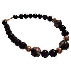14K Gold Black Onyx Cloisonne Beaded Bracelet