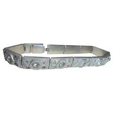 Art Deco White Metal and Paste Bracelet