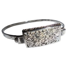 Sterling Silver Intricate Panel Face Clamper Cuff Slender Bracelet Floral