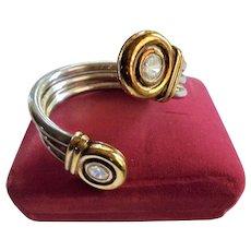 Sterling Silver Vermiel Wrap-Arond Cuff Bracelet CZ End Pieces