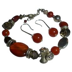 Sterling Silver & Carnelian Stone Bracelet and Pierced Earrings Set